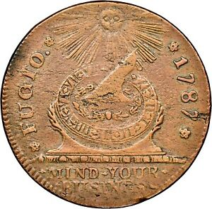 1787-Fugio-Cent-Colonial-Copper-NGC-MS-Uncirculated-Details-Env-Dmg-Looks-Red-Br