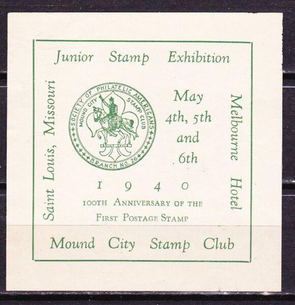 100 Anniv Du Premier Timbre ~ 1940 ~ Saint Louis ~ Mound Stamp Club Conduire Un Commerce Rugissant