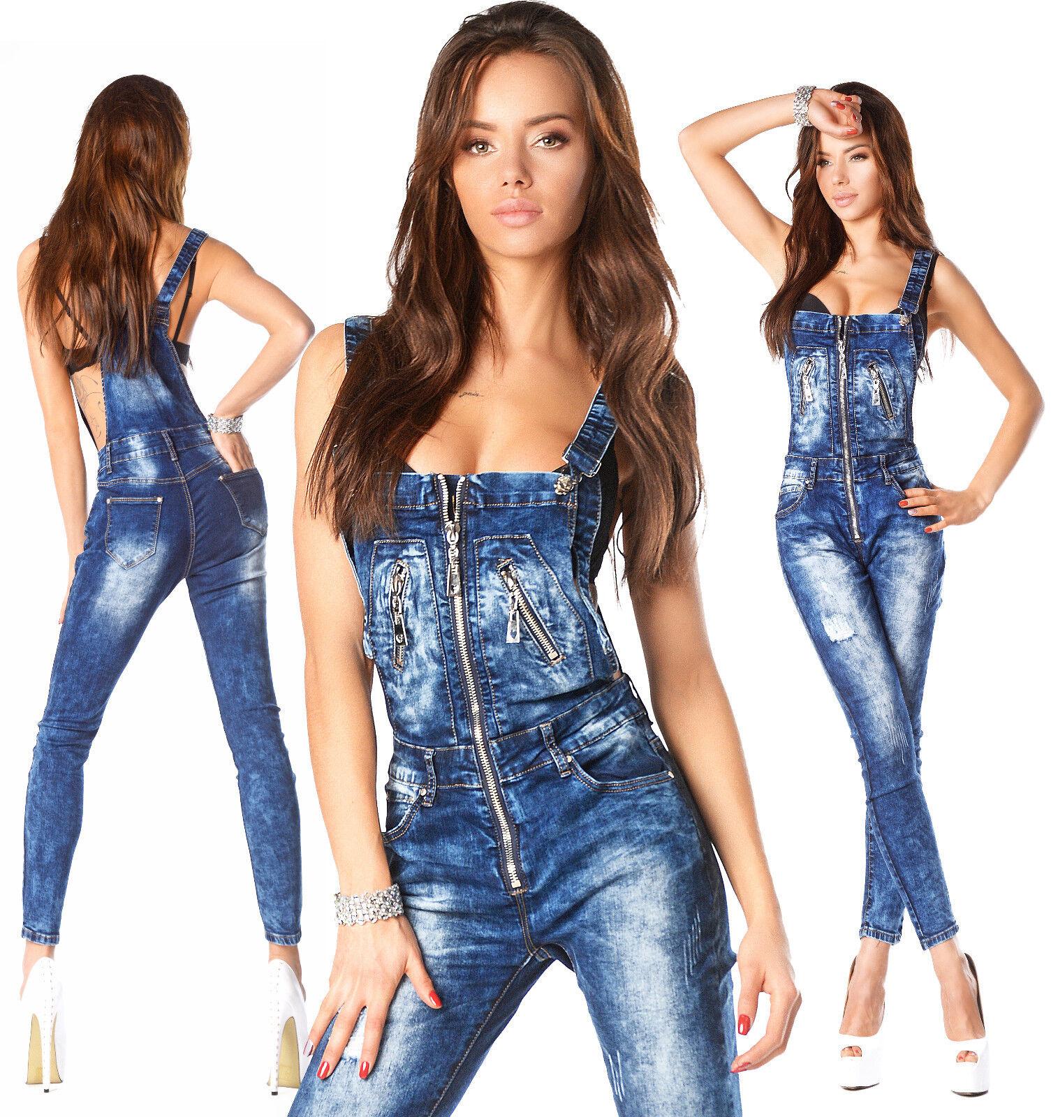 Sexy Neu Damen Denim Marineblau Jeans Overall Lätzchen mit Reißverschluss n 818