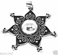 TAXCO MEXICAN STERLING SILVER BEADED DECO FLORAL PENDANT MEXICO