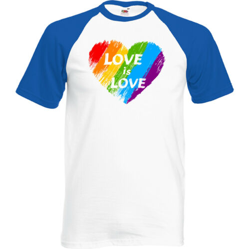 Love is Love Mens LGBT T-Shirt Pride Rainbow Colours Top Tee Outfit Clothing
