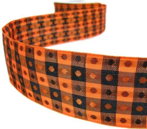 "5 Yd Halloween Orange Black Polkadot Grid Woven Wired Ribbon 1 1//2/""W"