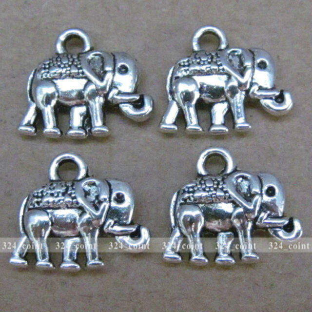 20pcs 14*12mm Tibetan Silver Elephant Charm Double-sided Beads Wholesale P011