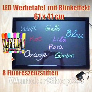 LED-Writing-Board-Anzeigetafel-Werbetafel-Leuchtreklame-Werbeschild-61x41-cm-NEU