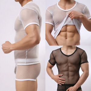 Men-Sexy-Fishnet-Gay-Mesh-Vest-T-shirt-Sheer-See-Through-Perspective-Shirt-Tops