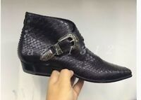 New Arrival Men's Leather Slip On Buckles West Slip On Shoes Black Ankle Boots