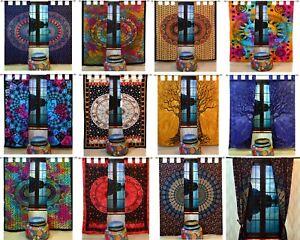 Indian-Multi-Tye-Dye-Cotton-Hippie-Wall-Hanging-Mandala-Tab-top-Door-Curtains