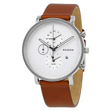 Skagen Hagen Silver Dial Brown Leather Mens Watch SKW6299