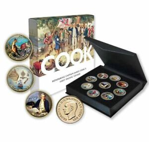 CAPTAIN-COOK-Gold-Plated-Enamel-Penny-9-Coin-Collection