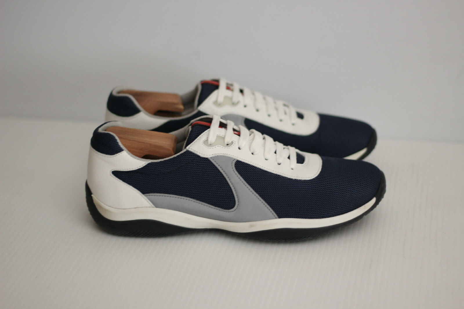 Prada Americas Cup Mesh Linea Rossa scarpe da ginnastica- 8.5US   7.5Navy blu  (X81)
