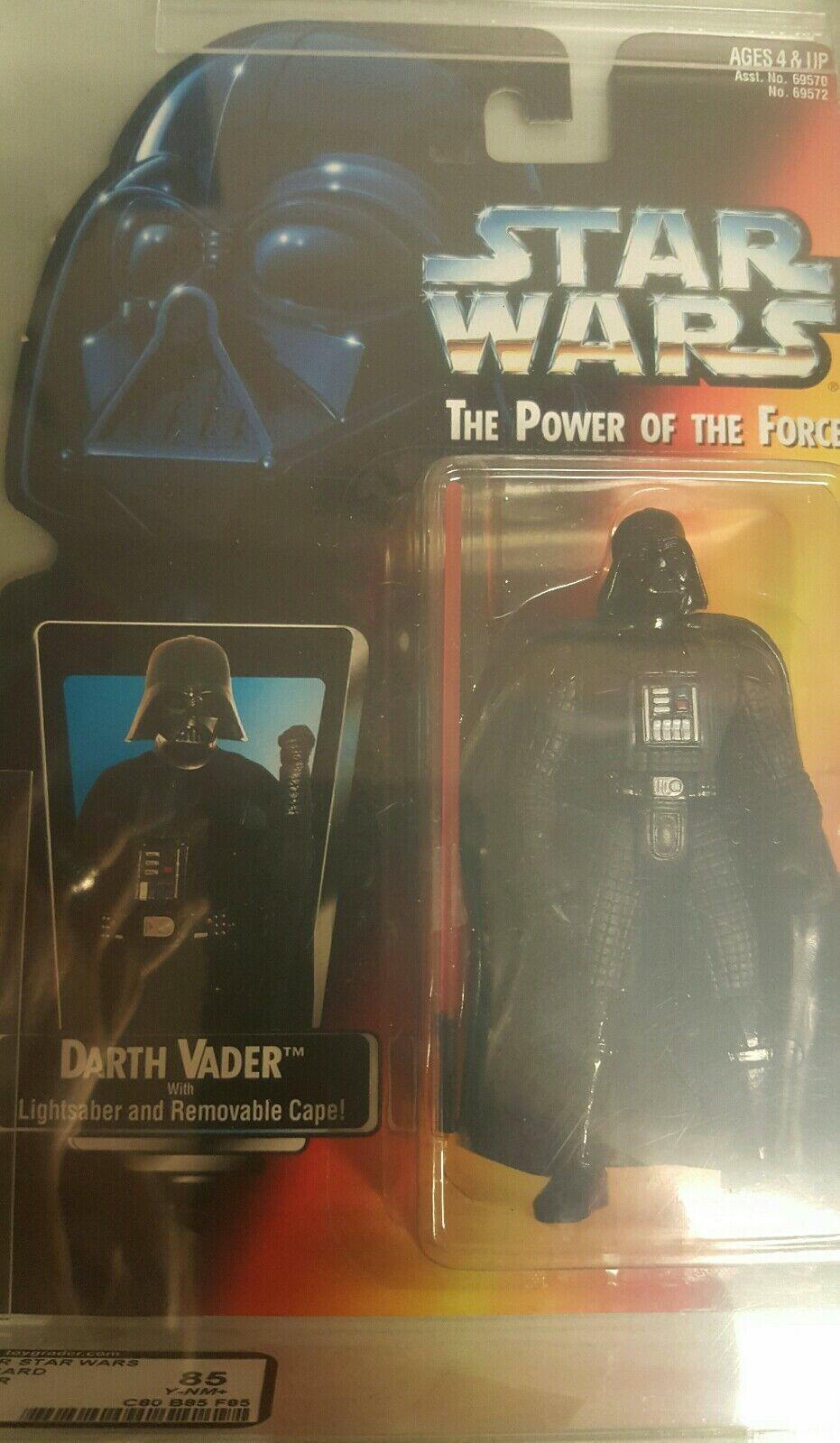 1995 Figura De Estrella Wars autoridad calificado Poder de la fuerza 2 tarjeta roja Darth Vader largo sable 85 y-casi Nuevo +