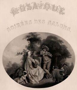 Mosaique-Soirees-des-salons-Romantisme-Musique-Musicien-Gravure-XIXe