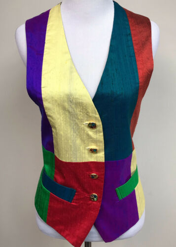 90s Vintage Todd Oldham Silk Vest Womens Small Col