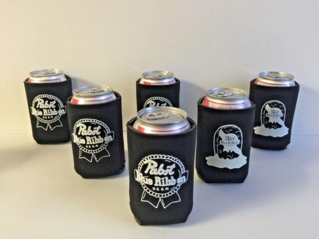 LOT OF *2* PBR PABST BLUE RIBBON BEER BLACK//WHITE KOOZIES 12 OZ COOLER FREE SHIP