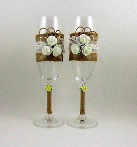 Hochzeitsglaser Sektglaser Mit Juteband Hochzeit Hochzeitsgeschenk