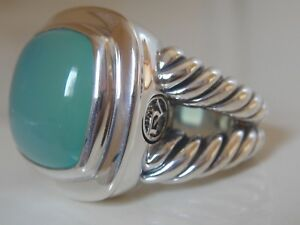 $975 David Yurman Ss Albion Large Aqua CalcÉdoine Bague-afficher Le Titre D'origine