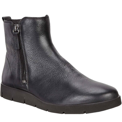 Ecco Womens Bella Leather Casual Fashion Zip Up Ankle Boots Shoe Black