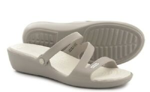 cc8186dc0761 Image is loading Crocs-Patricia-Wedge-Sandal-Platinum-Oyster-Women-6-