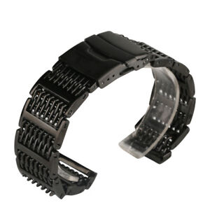 20/22/24mm Silver Black Stainless Steel Mesh Shark Band Replacement Spring Bars