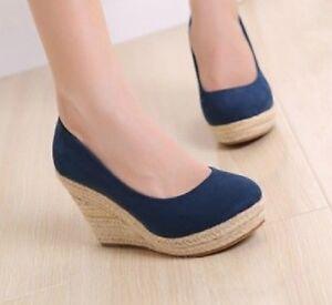 NEW-Stunning-Womens-Suedette-High-Heels-Wedges-Shoes-Sz-1-10-5-AM12003