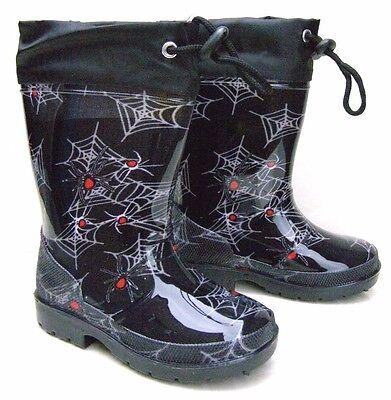 NEW BOYS BLACK SPIDER WEB WELLINGTONS RAIN BOOTS INSOLES WATERPROOF SNOW SHOES