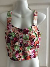 100% COTTON MULTI FLORAL CROPPED bustier BLOUSE elasticated BACK size 8 BNWT new