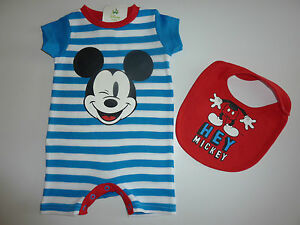 DISNEY-Really-Cute-MICKEY-MOUSE-Romper-Suit-and-Matching-Bib-NWT