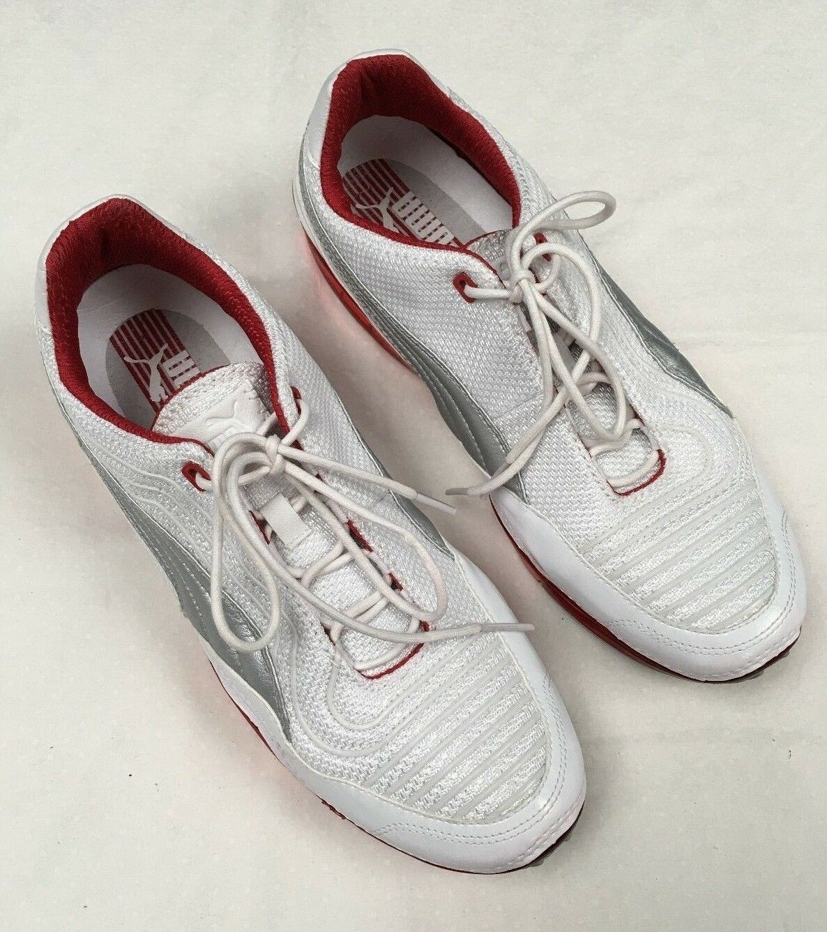 Puma men's white lace up sneaker with leather trim size 10