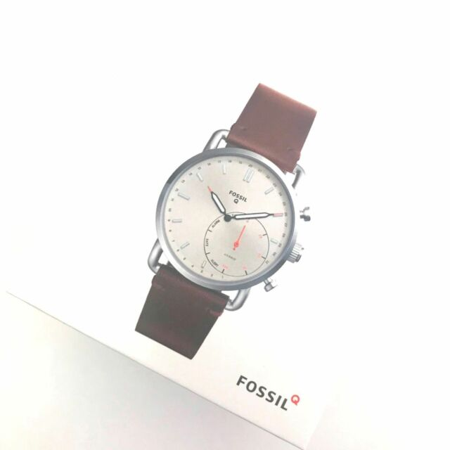 Fossil Hybrid Smartwatch Q Commuter Dark Brown Leather Ftw1150 For