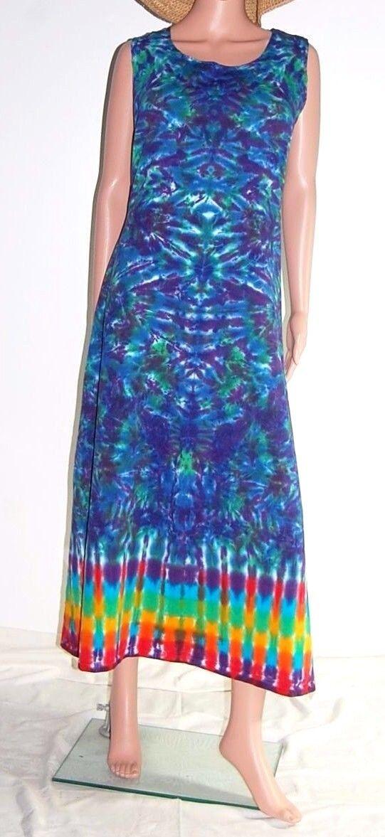 TIE DYE Women's Dress Blotter & Rainbow Tank Top Dress hippie sm med lg xl 2X 3X