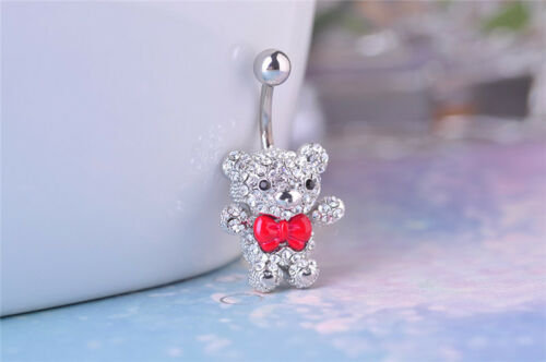 Cute Bow Tie Ours Navel Belly Button Anneau Acier Chirurgical Body Piercing Jewelry