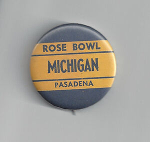1965-Michigan-Wolverines-Rose-Bowl-button-vintage-original-pin-NCAA-football