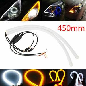 2x-flexible-weiss-Auto-Soft-Tube-LED-Strip-Licht-Tagfahrleuchte-Do-it-yourself-DRL-12v