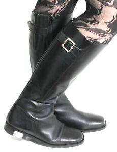 Stiefel-Leder-Damenstiefel-Vintage-Apart-Zipper-Schnalle-Blockabsatz-Gothic-38