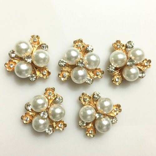 5Pcs Flower pearl Buttons Decorative Accessories DIY Wedding Bridal Hair Crafts