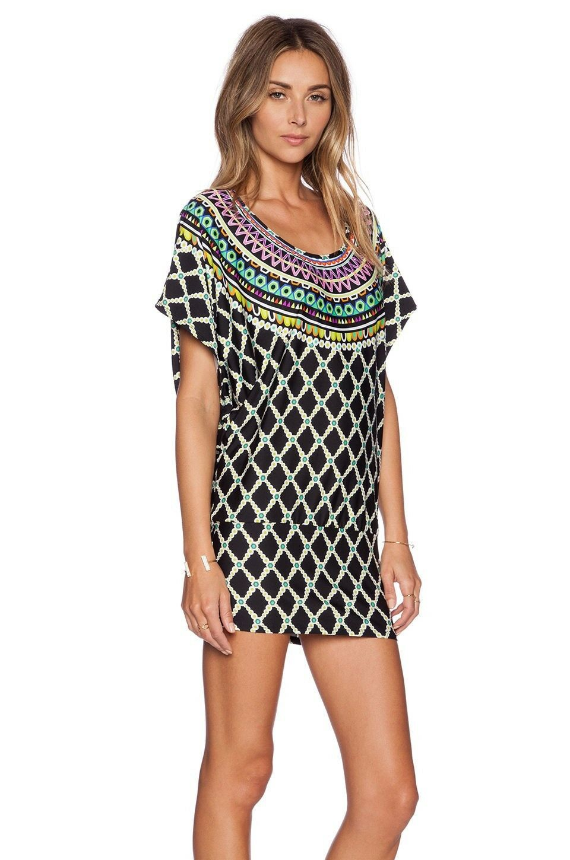 Trina Turk Kon Tiki Tunic Mini Dress Cover Up  Stretch Jersey NWT S