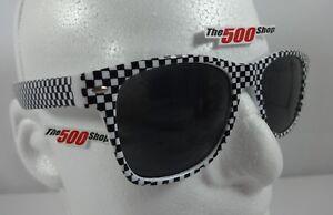 Checkerboard-Design-Racing-Sunglasses-Black-amp-White-Frame-Retro-Indy-500-IndyCar