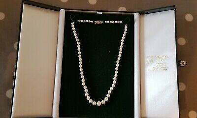 Vintage top quality 5mm natural Garnet freshwater pearl Necklace silver clasp