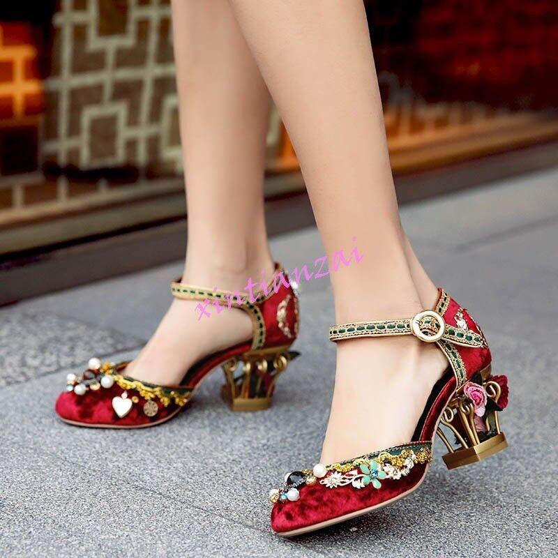 Womens Flower Kitten Heel Velvet Ladies shoes Manual Sandal Luxury shoes Vintage
