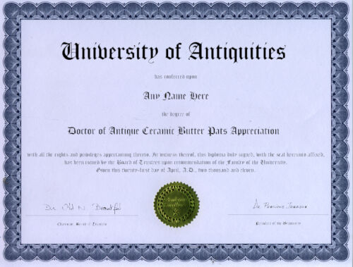 Doctor Antique Butter Pat Appreciation Novelty Diploma
