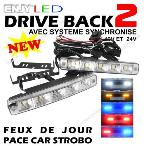 2 FEUX DE JOUR LED E4 REVERSIBLE PENETRATION CALANDRE AUDI A4 B5 B6 B7 B8