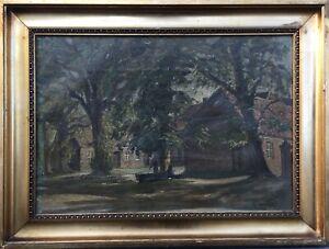 Impressionist-Niels-Holbak-1884-1954-Alter-Hof-mit-Baeumen-Daenemark-39-x-52-cm