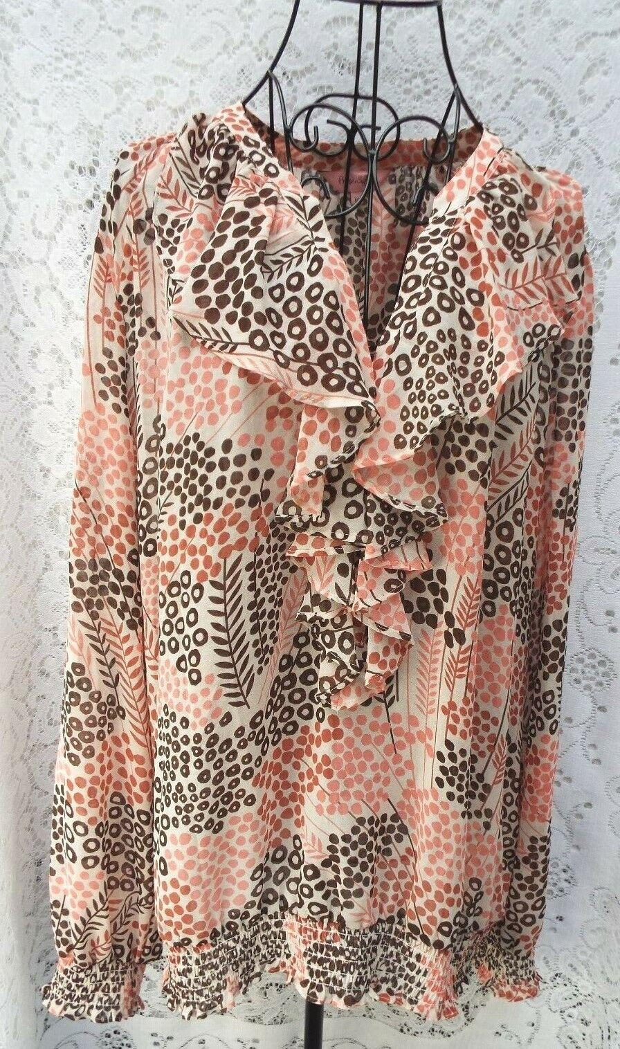 PHASE EIGHT Quality Designer Blouse Ruffle & Shirred Detail  Pink Mix size 18