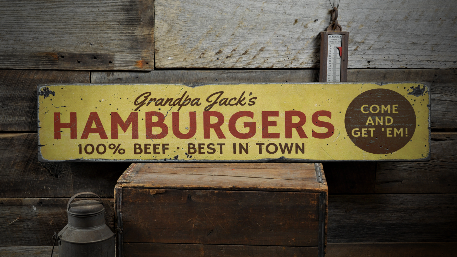 100% Beef Hamburgers, Best In Town Come - Rustic Distressed Wood Sign ENS1001698