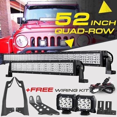 "Quad Row 52/"" 3600W Curved+22/"" 280W+18W LED Light Bar for Jeep Truck ATV 50/"""