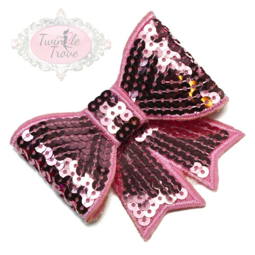 Large Shiny Sequin Bow Hair Clips Grips Girls Wedding Prom Bridal Accessory.