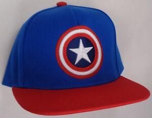 eecd7c45f90bb Hat Cap Licensed Marvel Comics Captain America Shield Logo Flat Bill ...