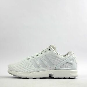 adidas originals zx flux woven mens trainers shoes triple white ebay rh ebay com