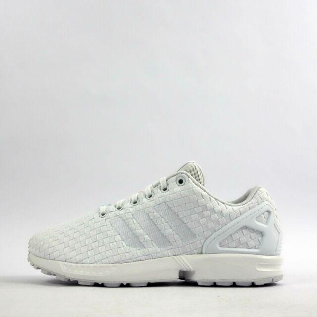 7758d3c080c91 adidas Originals ZX Flux Woven Triple White Mens Trainers UK 8 EUR ...