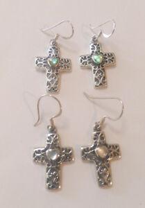 f548356c3 Image is loading Sterling-Silver-Filigree-Cross-Earrings